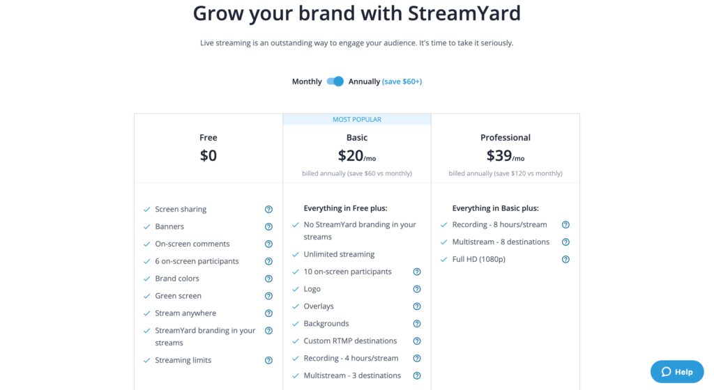 streamyard pricing