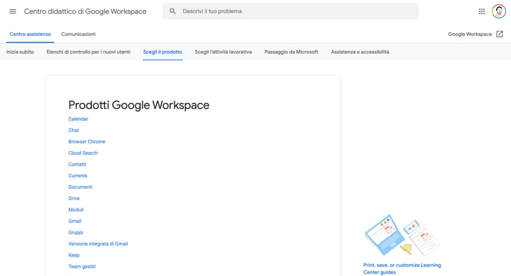 Centro Didattico di Google Workspace
