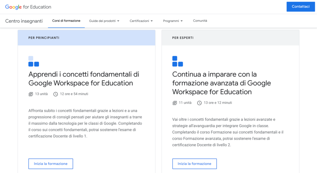 Corsi di formazione google workspace for education Centro insegnanti